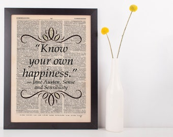 Know your own happiness Dictionary Art Print Jane Austen Sense & Sensiblity