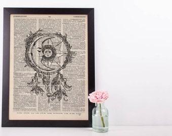 Sun and Moon Dreamcatcher Dictionary Print