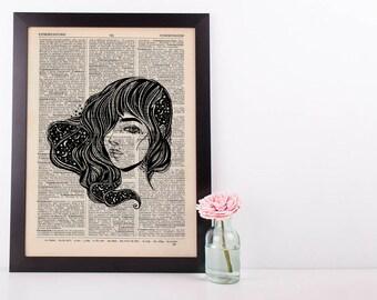 Cosmic Windswept Woman Dictionary Art Print Vintage Alternative