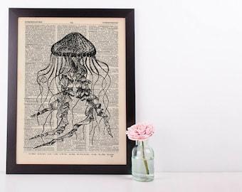 Jellyfish Dictionary Illustration Art Print Vintage Sea Nautical