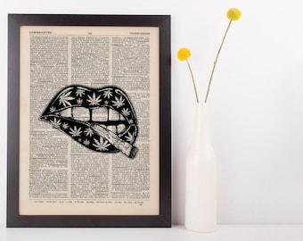 Indica Joint Spliff Lip Dictionary Illustration Art Print Vintage Marijuana Weed