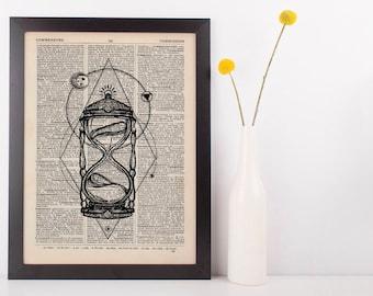 Sand Timer Dictionary Illustration Art Print Vintage Alternative