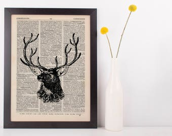 Stags Head Side Dictionary Illustration Art Print Vintage Hipster Steampunk