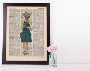 Deer Girl Dictionary Art Print Wall Vintage Picture Animal in Clothes