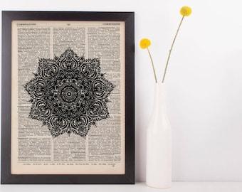 Fancy Star Mandala Dictionary Print