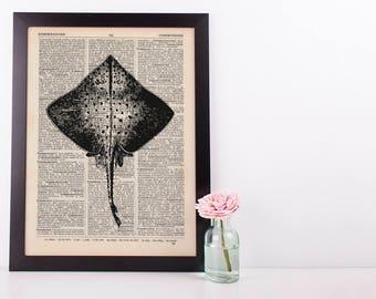 Skate Fish Dictionary Illustration Art Print Vintage Sea Life Nautical
