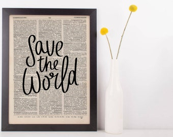 Save The World Dictionary Print