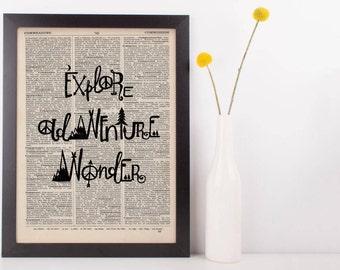 Explore Adventure Wander Dictionary Print