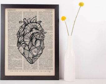 Geometric Heart Dictionary Print