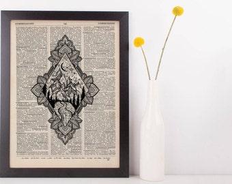 Diamond Moonlight Mandala Mountains Dictionary Print