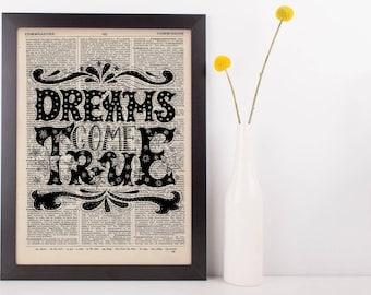 Dreams Come True Quote Dictionary Print