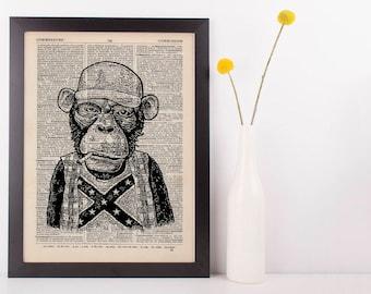 Redneck Monkey Dictionary Art Print Animals Clothes Anthropomorphic Funny