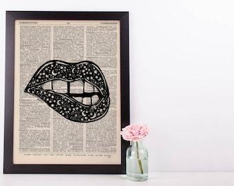 Surreal Celestial Lips Dictionary Print