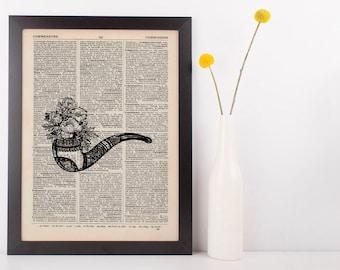 Flower Pipe Dictionary Illustration Art Print Vintage Alternative Nautical