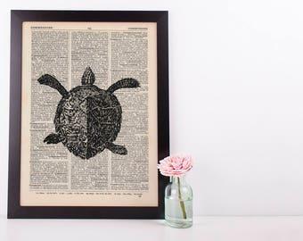 Sea turtle Dictionary Illustration Art Print Vintage Sea Life Nautical