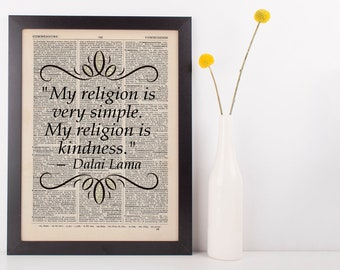 My Religion is Very Simple, Quote Dictionary Art Print Dalai Lama