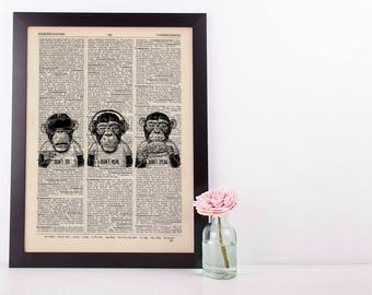 3 Wise Monkeys Dictionary Art Print Set Animals Clothes Anthropomorphic Human