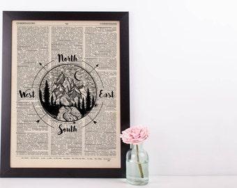 Mountain Compass Dictionary Print
