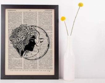 Kissing Moon Dictionary Print