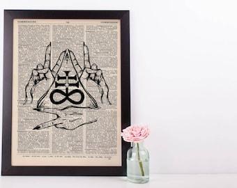 Leviathon Hands Triangle Dictionary Print