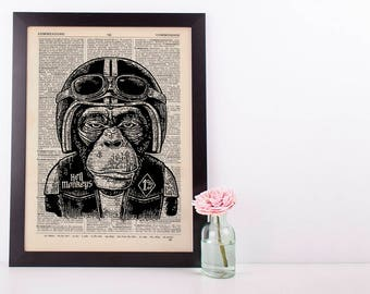 Hells Monkey Dictionary Art Print Set Animals Clothes Anthropomorphic Biker Human