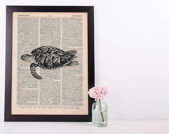 Sea turtle 2 Dictionary Illustration Art Print Vintage Sea Life Nautical