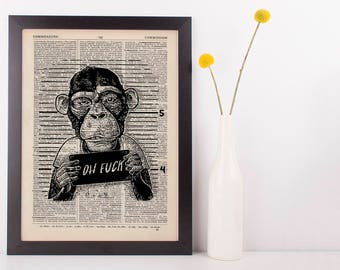 Oh Funk Monkey Dictionary Art Print Animals Clothes Anthropomorphic Funny