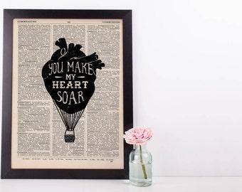 You Make My Heart Soar Hot AIr Balloon Dictionary Print