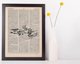 Indica Tattooed hands Lighter Dictionary Illustration Art Print Vintage Weed