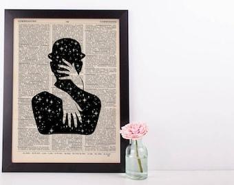 Surreal Starlight Steampnk Caress Dictionary Print