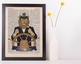 Captain Lion Dictionary Art Print Animals as Humans Anthropomorphic Nautical Sea