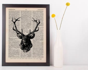 Stags Head Dictionary Illustration Art Print Vintage Hipster Steampunk