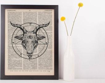 Buy 2 Get 1 Free Using Code 3for2, Baphomet Pentagram Circle Dictionary Print