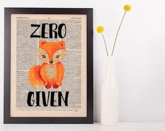 Zero Fox Given Dictionary Print Art Vintage Funny Rude Swear Pun