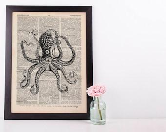Octopus Tentacles 2 Dictionary Illustration Art Print Vintage Sea Nautical