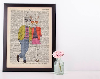 Bunny Couple Dictionary Wall Decor Art Print Vintage Animal In Clothes Mr & Mrs