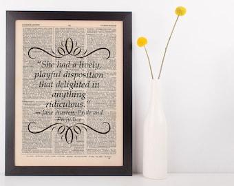 She had a lively, playful Dictionary Art Print Jane Austen Pride & Prejudice