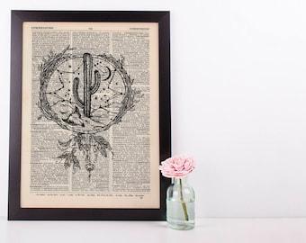 Western Cactus Skull Dreamcatcher Dictionary Art Print Vintage Plant Hipster