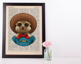 Meerkat in a hat Dictionary Art Print Animals Clothes Anthropomorphic