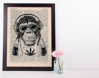 Jamaican Monkey Dictionary Art Print Set Animals Clothes Anthropomorphic Human