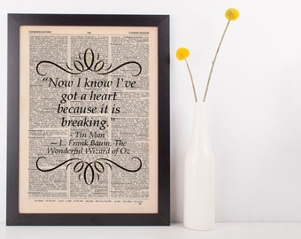 Now I know I've got a heart Dictionary Art Print Frank L Baum Wizard of Oz