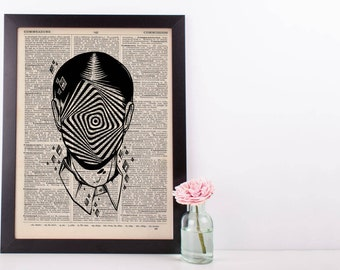 Surreal Hypnotic Face Dictionary Print