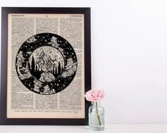 Mountains and Moonlight Circles Dictionary Print