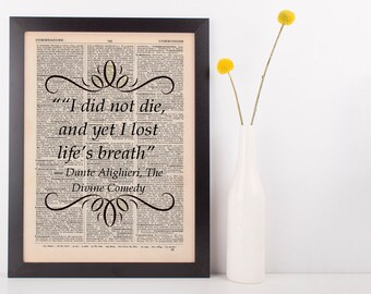 I did not die, and yet I lost life Dictionary Art Print Book Dante Divine Comedy