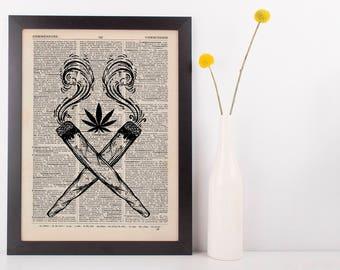 Indica Crossed Joints Dictionary Illustration Art Print Vintage Marijuana Weed