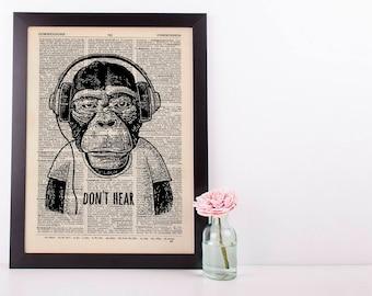Don't Hear Monkey Dictionary Art Print Set Animals Clothes Anthropomorphic Human