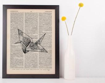 Paper Crane Mandala Dictionary Illustration Art Print Vintage Alternative
