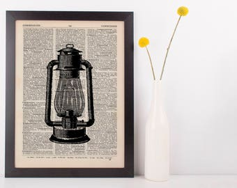 Oil Lamp Dictionary Illustration Art Print Vintage Hipster Antique Steampunk