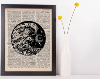 Moonlight Waves Dictionary Print