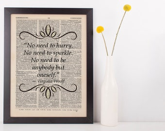 No Need to Worry, Quote Dictionary Art Print Virginia Woolf